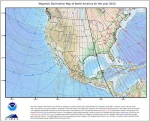 Map of magnetic declination